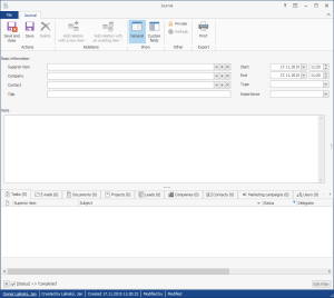 Journal in CRM for Microsoft Outlook
