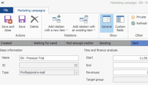 Marketing summary in CRM for Microsoft Outlook
