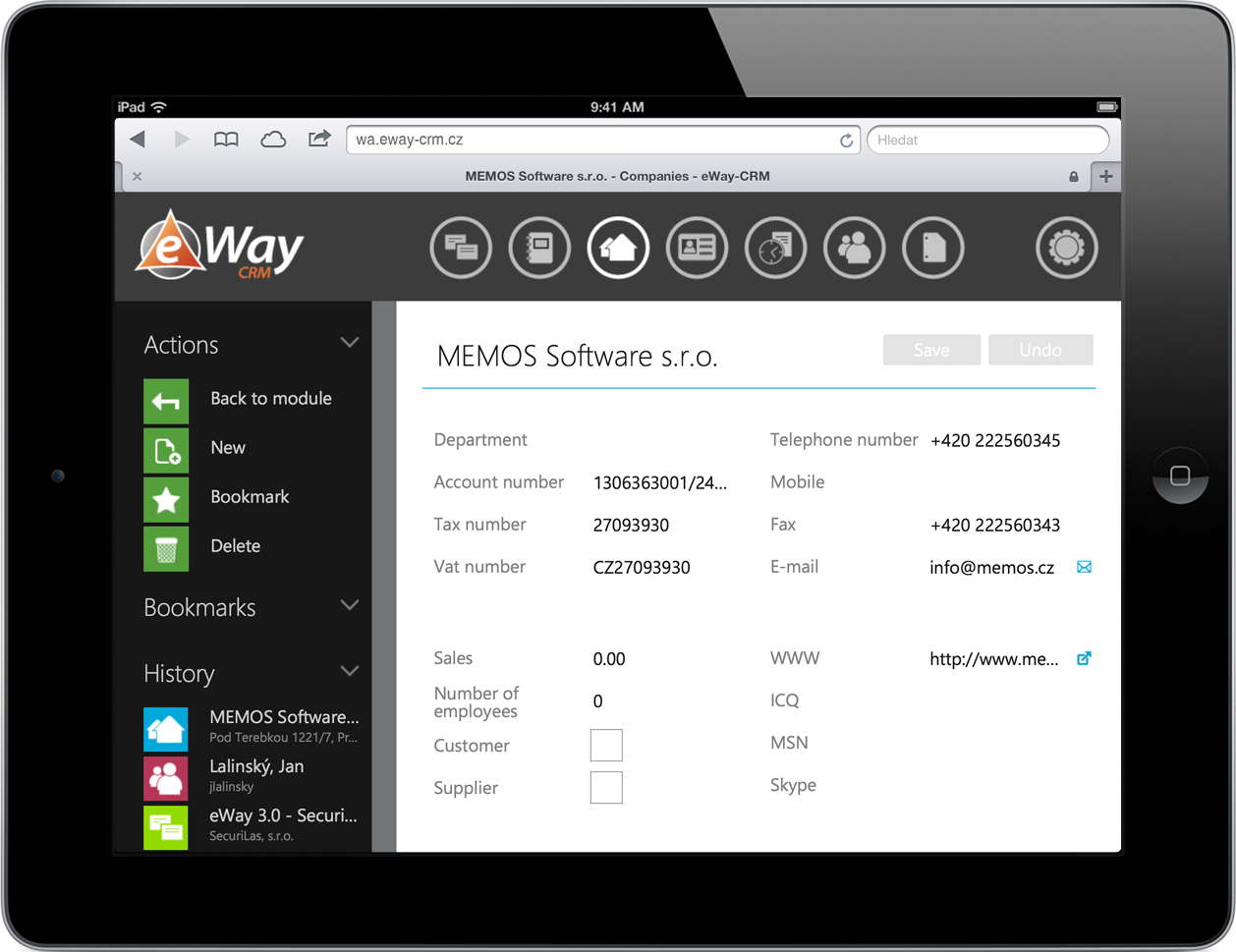 Companies in eWay-CRM Web Access