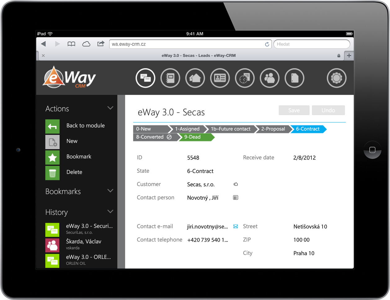 List of items in eWay-CRM Web Access