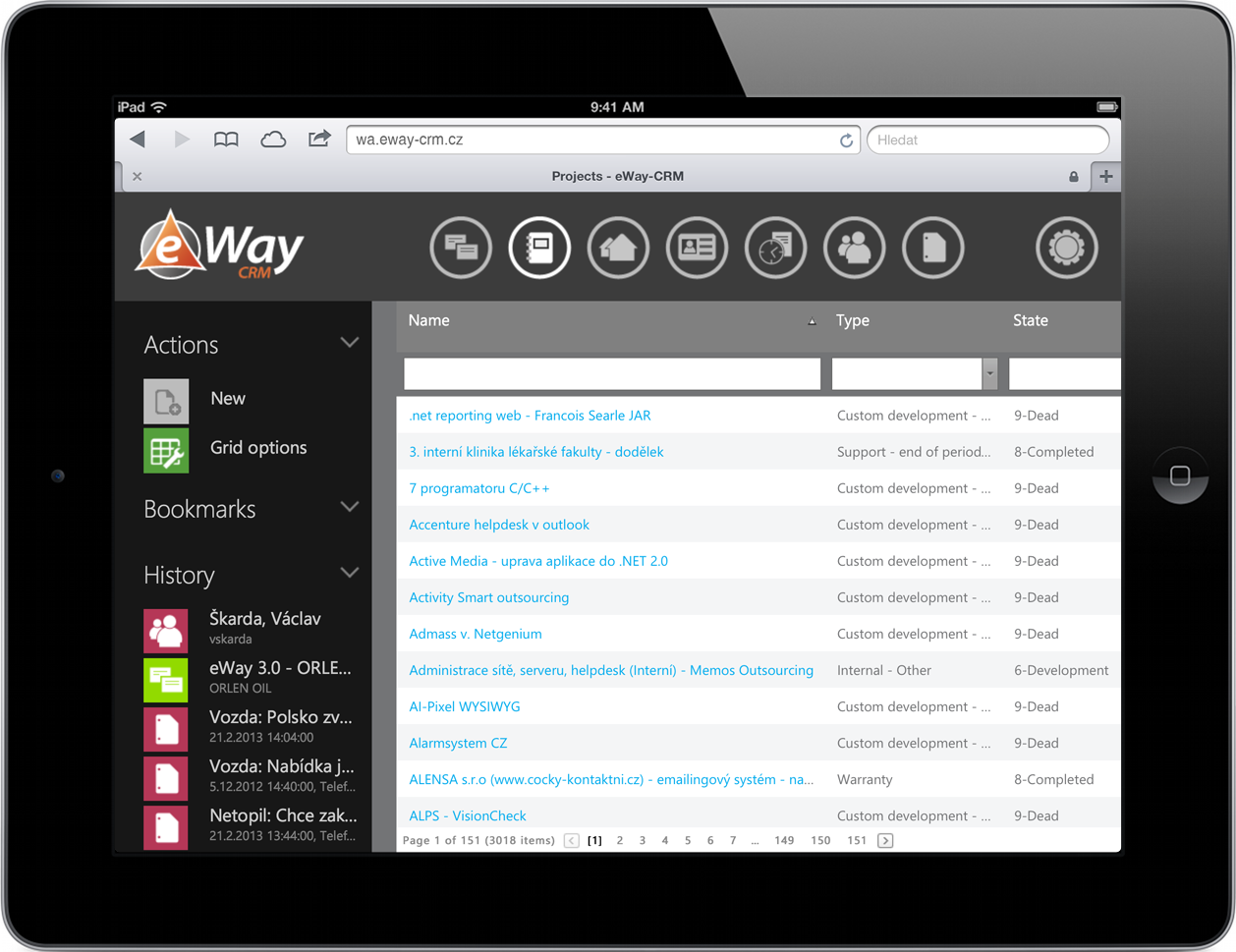 Projects in eWay-CRM Web Access