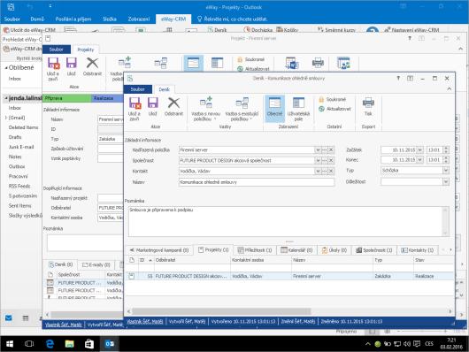 Úžasná integrace s Microsoft Outlookem