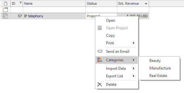 Categories in Context Menu