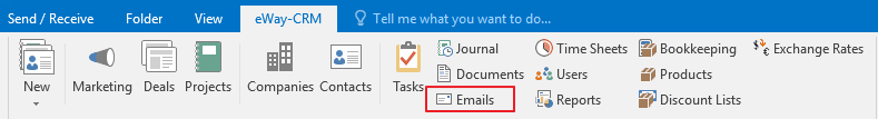 Emails Icon in eWay-CRM Ribbon