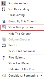 Show Group by Box