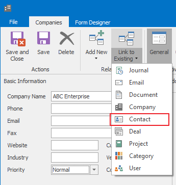 Link to Existing Contact