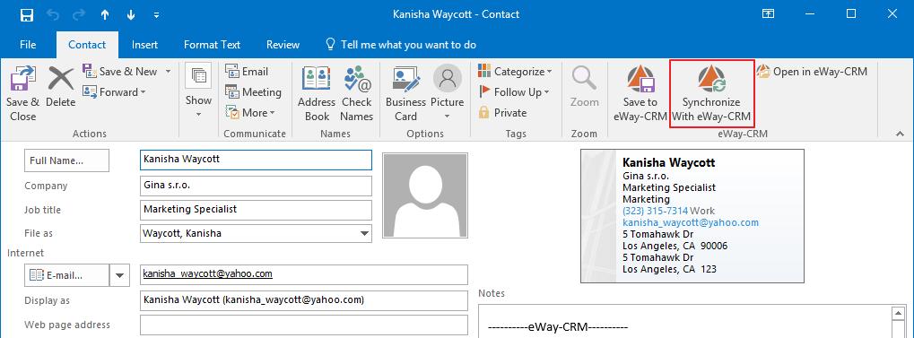 Synchronize With eWay-CRM