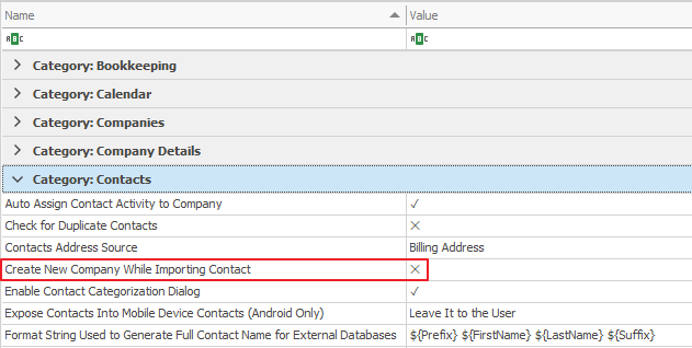 Global Settings, Category Contacts