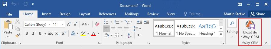 Uložit Word dokument do eWay-CRM