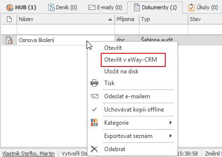 Otevřít v eWay-CRM