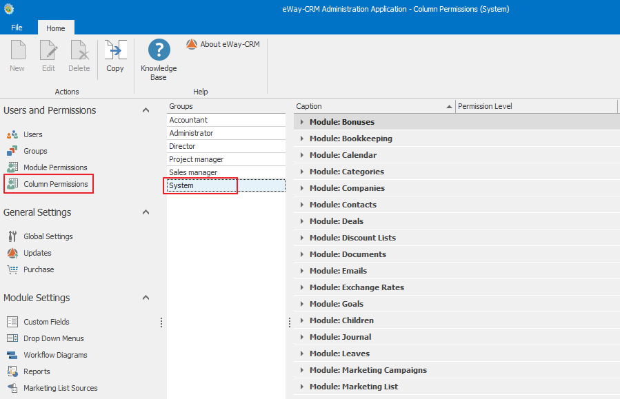 Column Permission in Administration Settings