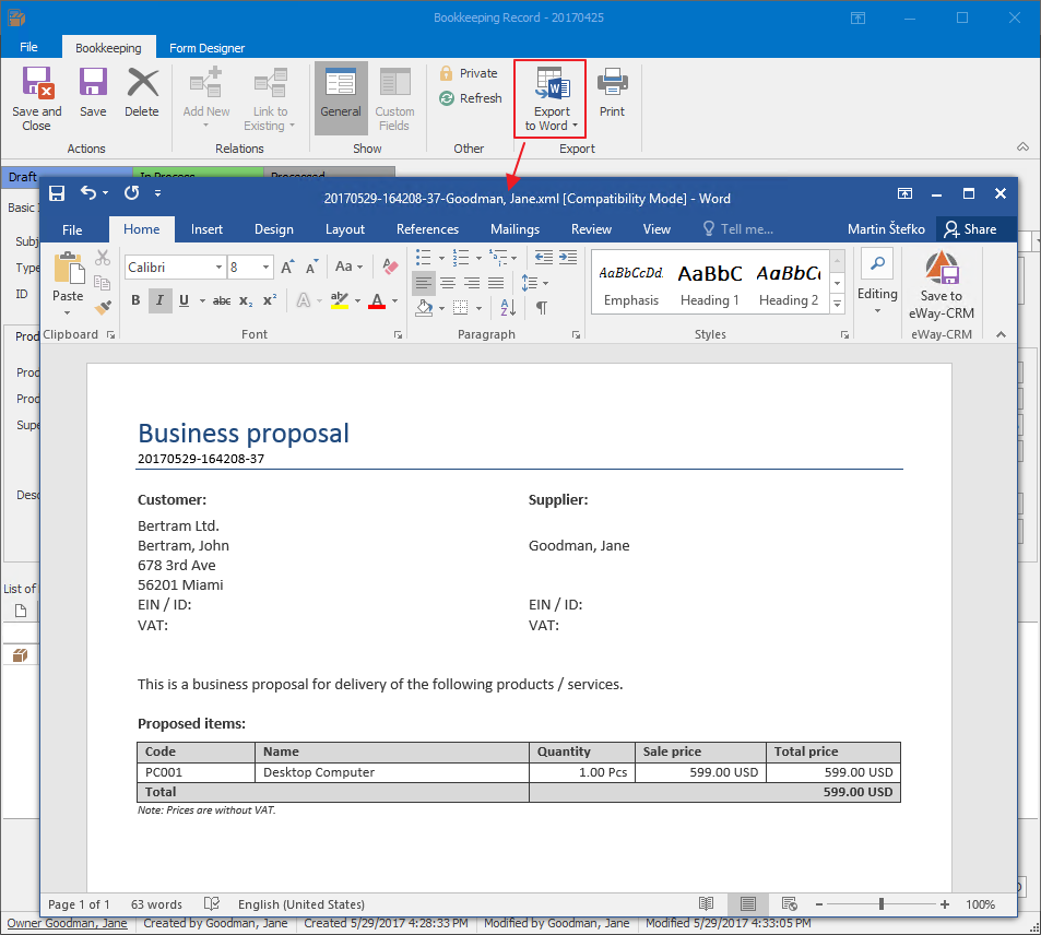 Exporting proposal to MS Word