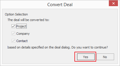 Convert Deal Window