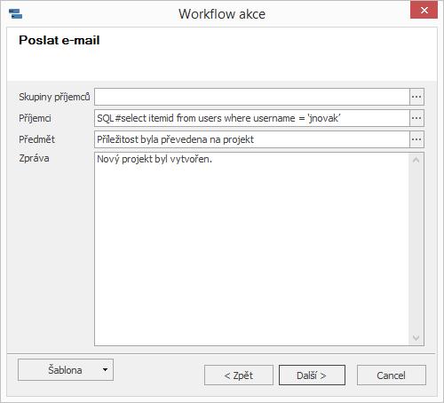 Příklad akce Poslat e-mail