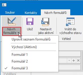 Kontextové menu návrhu formuláře