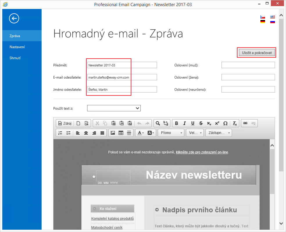 Karta emailu
