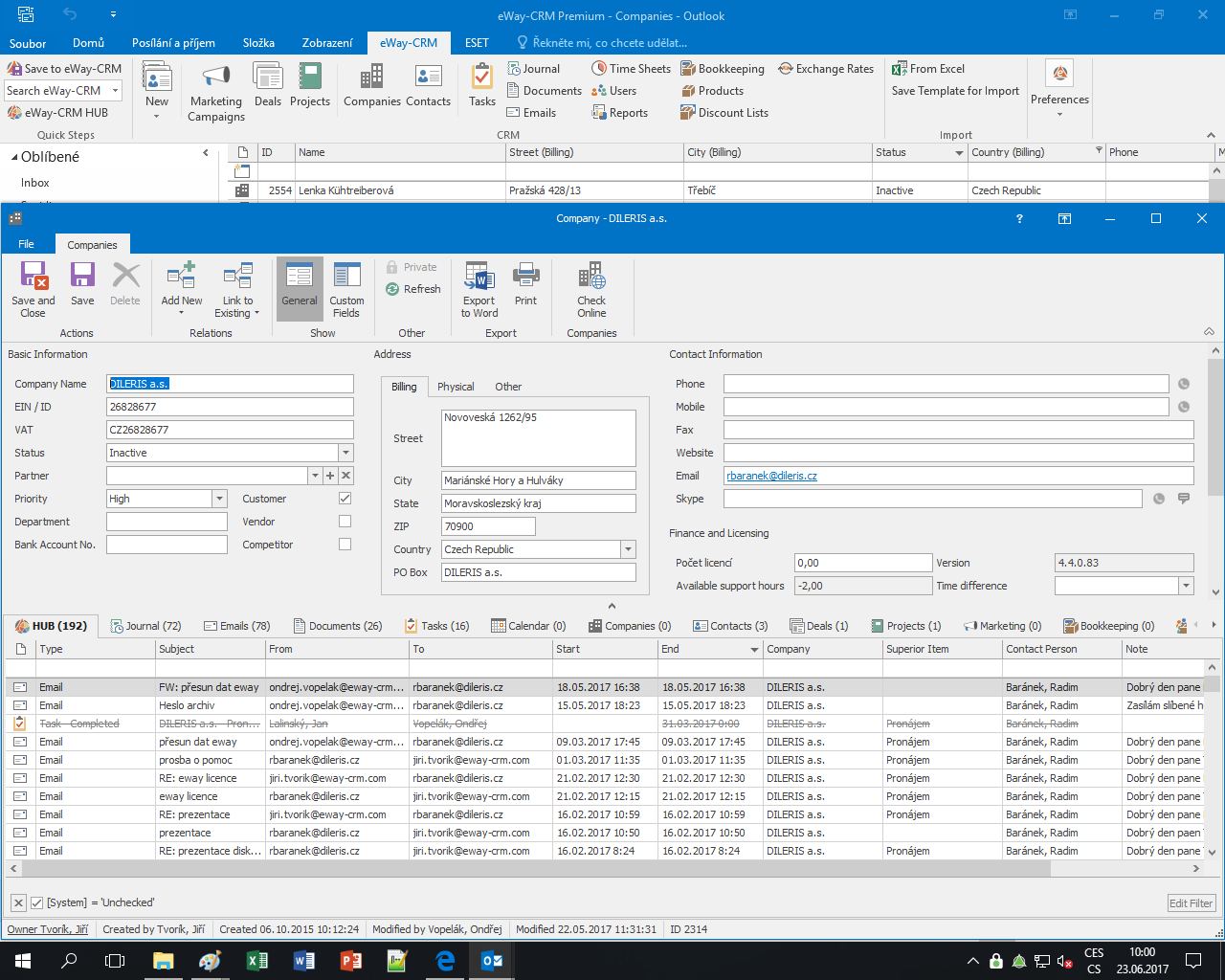 Company management interface in eWay-CRM