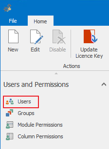 Users Section in Administration Settings