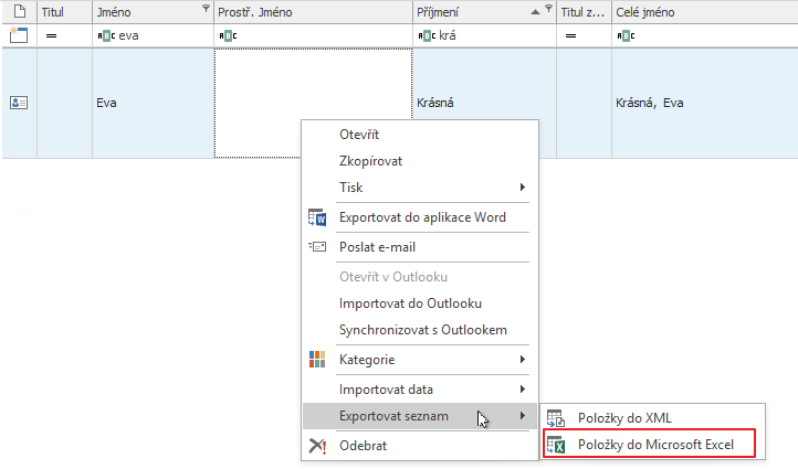 Exportovat seznam do Microsoft Excel