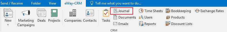 Journal Icon in eWay-CRM Ribbon