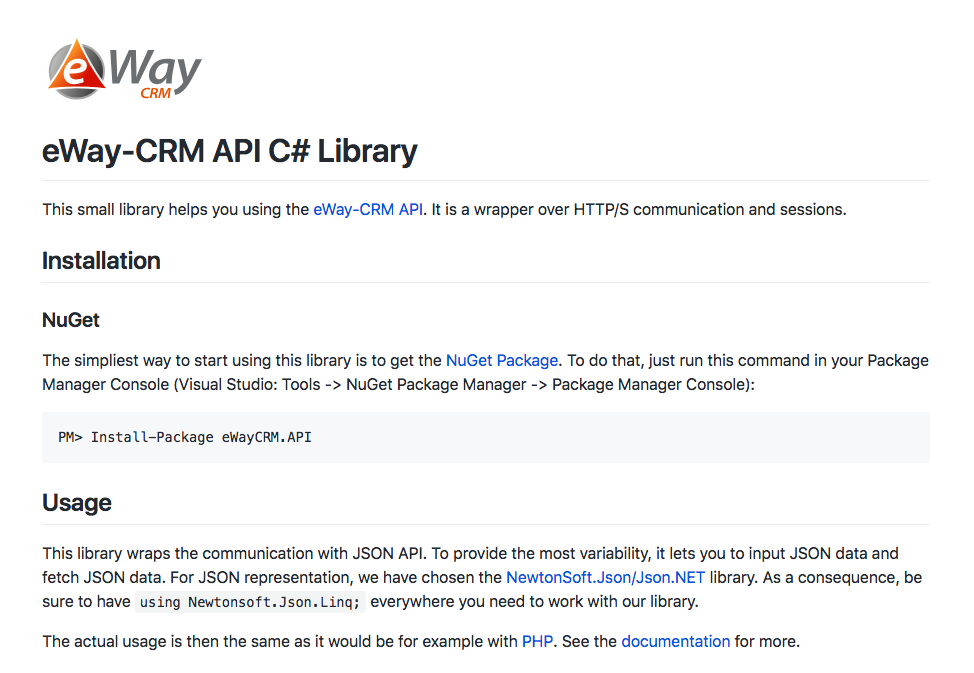 eWay-CRM on GitHub | Attention for eWay-CRM | eWay-CRM API