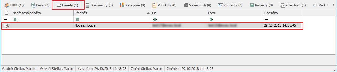 Záložka E-maily