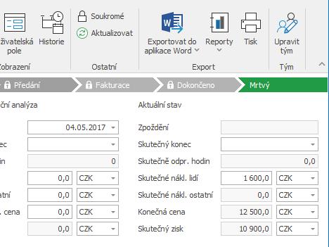 Cena na projektu počítaná doklady