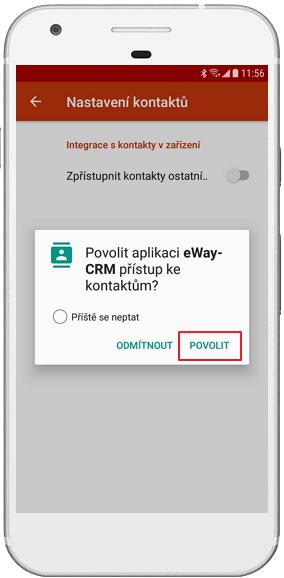 Povolit přístup ke kontaktům