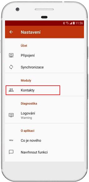 Kontakty v nastavení eWay-CRM Mobile