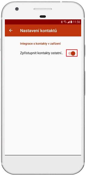 Přepínač pro sdílení kontaktů