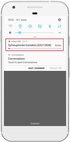 Notifikace o sdílení kontaktů