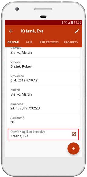 Odkaz ba kontakt do jiné aplikace