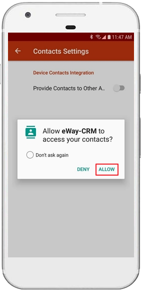 allow Access to Phone Contacts