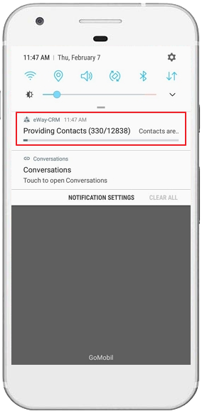 Contacts Sharing Notification