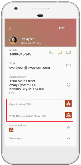 Detail of eWay-CRM Contact in Other Application