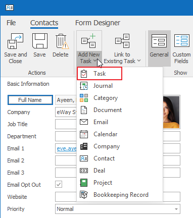 Add New Task to Contact