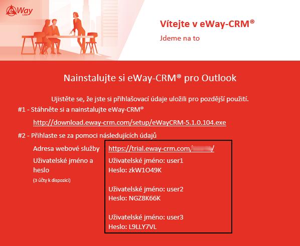 Přihlašovací údaje do eWay-CRM