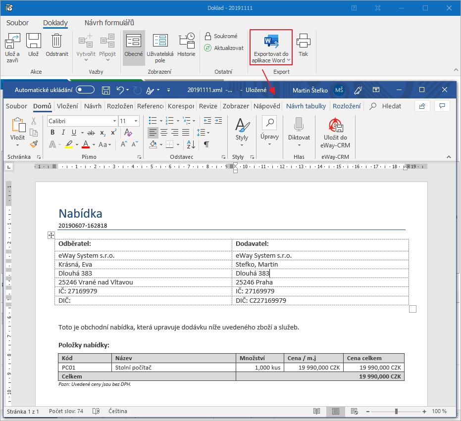 Exportovat dokladu do Wordu