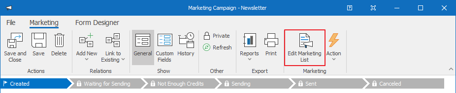 Edit Marketing List