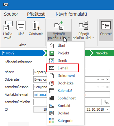 Připojit nový e-mail