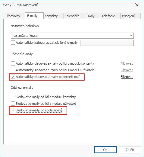 Sledovat e-maily podle společnosti