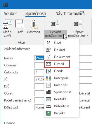 Vytvořit nový e-mail