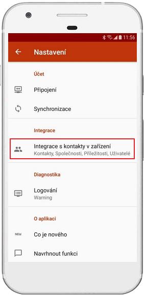 Integrace kontaktů v eWay-CRM Mobile