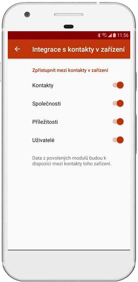 Výběr integrovaných modulů v eWay-CRM Mobile
