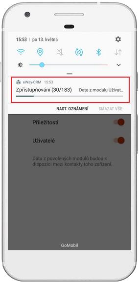 Sdílení kontaktů eWay-CRM Mobile