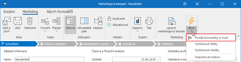 Poslat hromadný e-mail