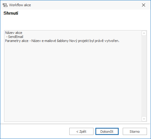 Potvrzení akce Poslat e-mail