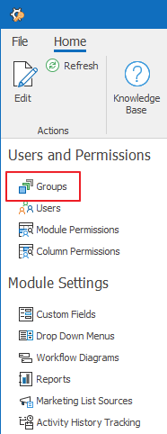 Groups Section in Administration Settings