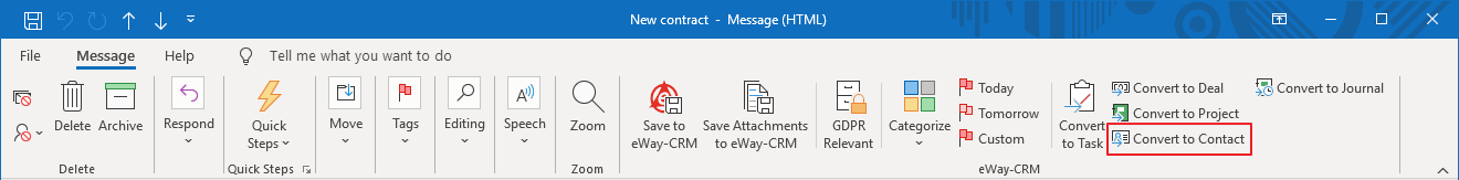 Convert Email to Contact