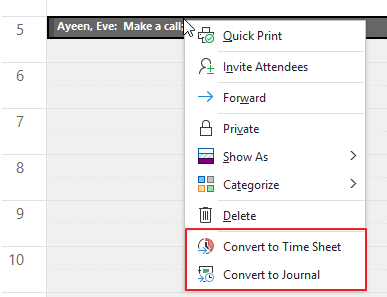 Context Menu of Calendar